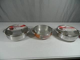 3 New Aluminum Caldero Pans with Lids