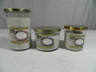 3 New Amber Teakwood Candles by Royale Classics