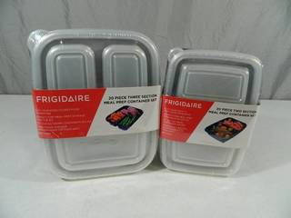 2 New 20 Piece Frigidaire Sectioned Meal Prep Sets