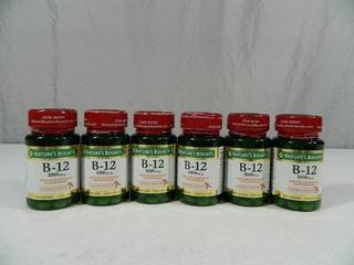 6 New Sealed Bottles of Natures Bounty B-12