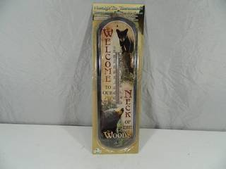 New Welcome to Our Neck of the Woods Tin Thermometer