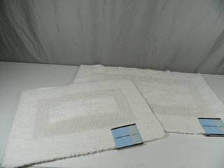 2 New 100% Cotton Reversible Bath Rugs