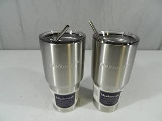 2 New Large 30 oz Tumblers with Metal Straws