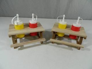 2 New Super Cute Mini Picnic Table Condiment Holders