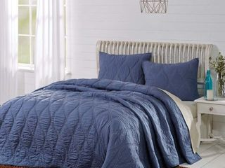 Smoky Blue Navy Farmhouse Bedding Harbour Cotton Pre-Washed Cambric Solid Color King Quilt