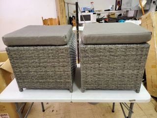 Furniture of America set of 2 Gray wicker ottomans with 6 cm cushion