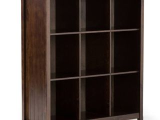Simpli Home Acadian Wood 9 Cube Bookcase and Storage Unit in Brunette Brown