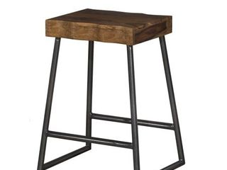 Hillsdale Emerson Manufactured Live Edge Square Non-Swivel Backless Counter Stool