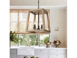 Rustic Large Geometric Wooden and Black Lantern- Retail:$191.49