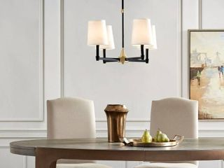 Clarke four light black and gold chandelier