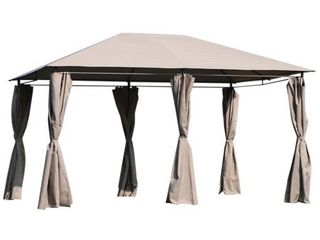 Outsunny 13' x 10' Steel Outdoor Patio Gazebo Pavilion Canopy Tent with Curtains - Retail:$207.99
