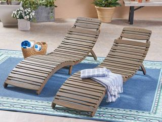 One chair only Lahaina Outdoor Acacia Wood Chaise Lounge by Christopher Knight Home - Retail:$140.99