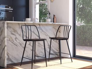 1 chair DHP Colton Metal Counter Stool with Elm Wood Seat, Black