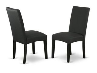 DRP1T24 Parson Chair with Black Finish Leg and Linen Fabric- Black Color (Set of 2) - Retail:$134.49