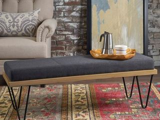 Elisha Industrial Modern Fabric Rectangle Bench by Christopher Knight Home - Retail:$144.49