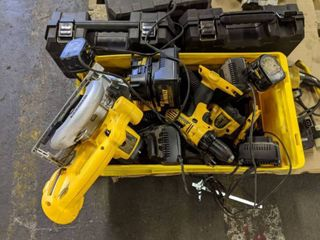 Cordless Circular Saw 6 1 2 Inch DC390 Type 1 And Assorted DeWalt Tools With Two Empty Cases