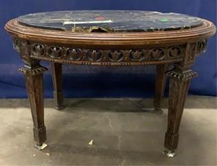 Round Table Granite Top; Damaged 26x19x16