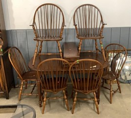 Dining Table, 6 Chairs, 2 Leaves 37x57x30