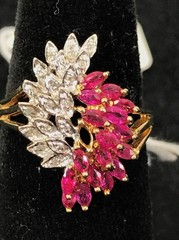 Ladies 10kt Yellow And White Gold Ruby And