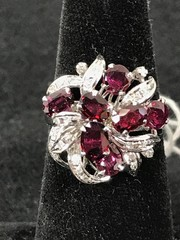 Ladies 18kt White Gold Ruby And Diamond Ring.