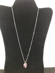 Ladies 14kt White Gold Ruby And Diamond Necklace.