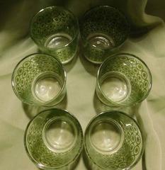 Green Beverage Glasses  6 ea