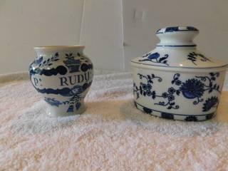 Blue   White Vases  2 ea