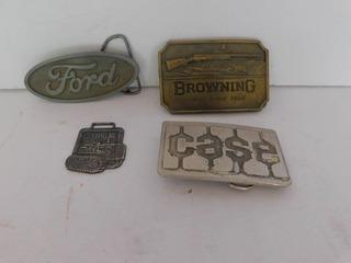 Four Branded Belt Buckles