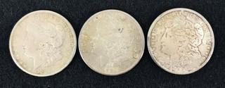Three 1921-s Morgan Silver Dollars