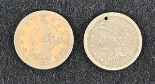 Two Large Cents - 1846 (holed) Coronet Type And