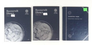 Three Roosevelt Dimes Blue Collection Books With