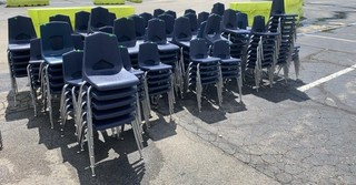 Approx 40-50 Stacks Of Blue Chairs