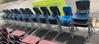 11 Stacks Of Blue Chairs