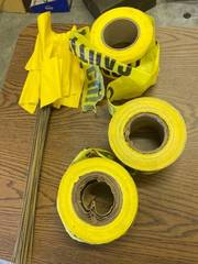 caution tape and marking flags