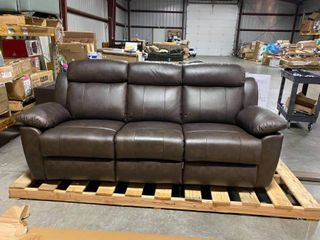Abbyson Braylen Top Grain leather Reclining Sofa MSRP  1599 PERFECT  Soft leather