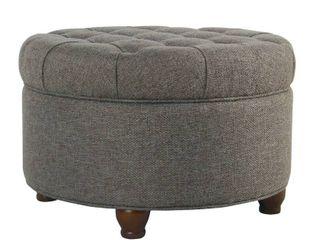 Homepop large Tufted Round Storage Ottoman Dark Gray
