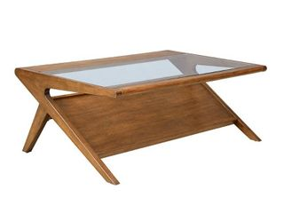 Carson Carrington Naglestad Pecan Coffee Table with Tempered Glass