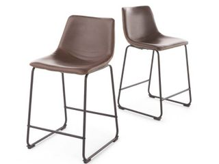 Cedric 24 inch Faux leather Counter Stool by Christopher Knight Home  Set of 2