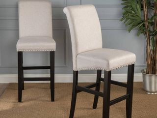 lisette 30 inch Studded Fabric Backed Barstool with Kickplate  Set of 2  by Christopher Knight Home