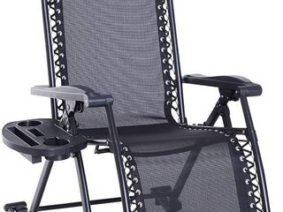 Outsunny Folding Zero Gravity Rocking lounge Chair with Cup Holder Tray