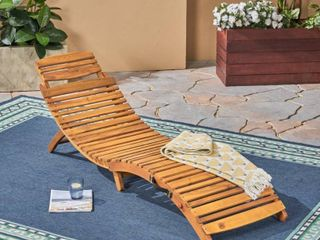 lahaina Outdoor Acacia Wood Chaise lounge by Christopher Knight Home   natural yellow