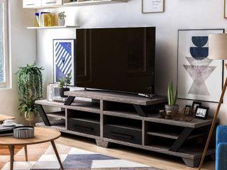 Furniture of America Mezu Grey Finish Contemporary 82 inch TV Stand