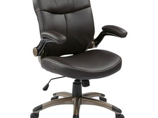 Office Star WorkSmart Executive Mid Back Eco leather Chair with Adjustable Padded Flip Arms  Espresso