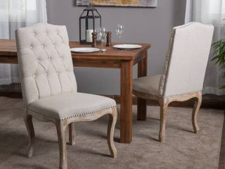 Weathered Hardwood Studded Beige Dining Chair  Set of 2  by Christopher Knight Home