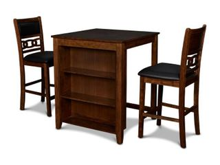 Gia 30  Counter Table W 2 Chairs   Stg Shelf brown