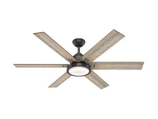 Hunter 60  Warrant Noble Bronze Ceiling Fan with light Kit and Wall Control