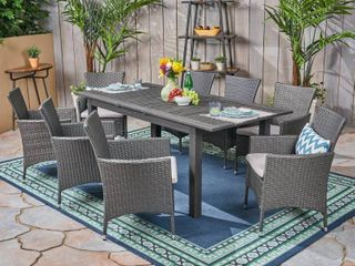 Nadia Outdoor Wood and Wicker Expandable Dining Table by Christopher Knight Home