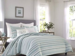 Tommy Bahama Clearwater Cay Duvet Cover Set  Queen  Blue MSRP  215