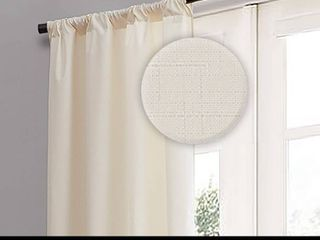 EClIPSE Kendall Thermal Insulated Single Panel Rod Pocket Darkening Curtains for living Room  42  x 95  Ivory Set of 2 panels MSRP  45