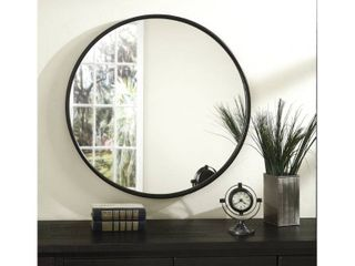 Copper Grove Encamp 30 inch Round Framed Wall Mirror   Antique Pewter